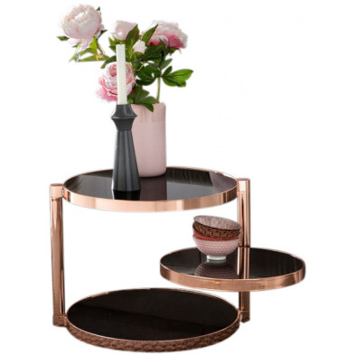 Table d'appoint noir design en acier L. 45 x P. 38,5 x H. 51,5 cm collection Mullheim