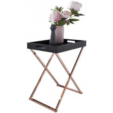 Table d'appoint noir design en acier L. 48 x P. 34 x H. 61 cm collection Mullheim