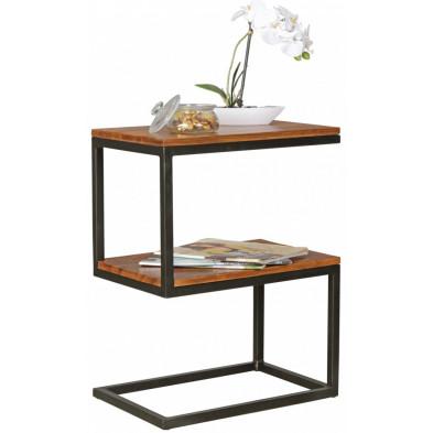 Table d'appoint marron contemporain en acier L. 45 x P. 30 x H. 60 cm collection Llangattock