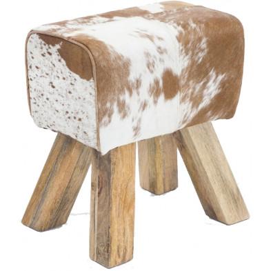 Repose-pied et pouf beige vintage en bois massif L. 30 x P. 40 x H. 47 cm collection Estinnes