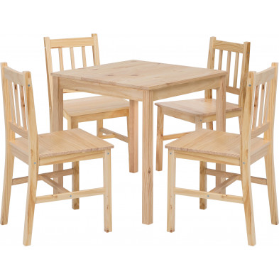 Ensembles tables & chaises beige contemporain en bois massif L. 70 x P. 73 x H. 73 cm collection Bulgarograbo