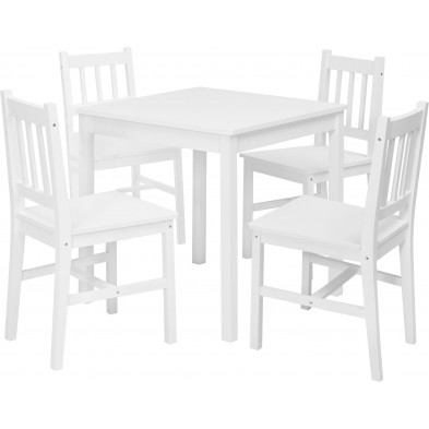 Ensembles tables & chaises blanc contemporain en bois massif L. 70 x P. 70 x H. 73 cm collection Bulgarograbo
