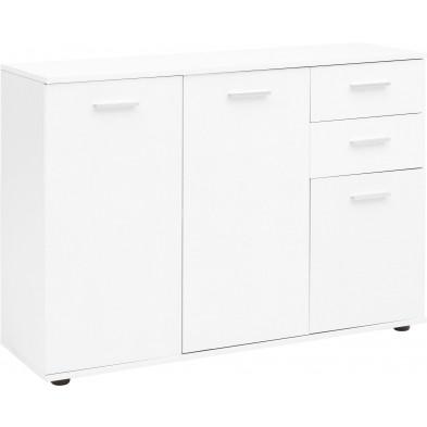 Buffet - bahut - enfilade blanc design en panneaux de particules mélaminés de haute qualité L. 107 x P. 35 x H. 79 cm collection Kornelis
