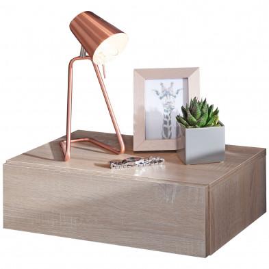 Chevet - table de nuit marron contemporain en acier L. 46 x P. 30 x H. 15 cm collection Maresca