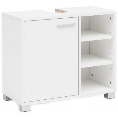 Meuble sous vasque blanc design en panneaux de particules mélaminés de haute qualité L. 60 x P. 32 x H. 55 cm collection Pinar