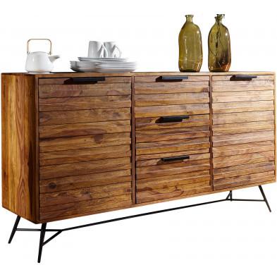 Buffet - bahut - enfilade en bois massif marron rustique en acier L. 160 x P. 40 x H. 88 cm collection Galatina