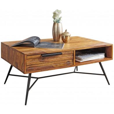 Table basse en bois marron rustique en acier L. 87 x P. 55 x H. 41 cm collection Galatina