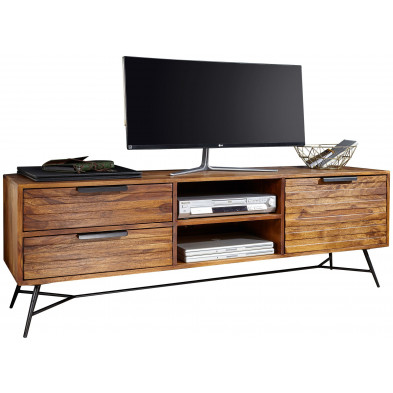 Meuble tv design marron rustique en acier L. 160 x P. 40 x H. 54 cm collection Galatina