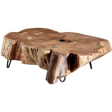 Table basse en bois marron rustique en acier L. 104 x P. 69 x H. 30 cm collection Watton
