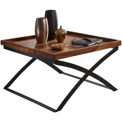 Table basse en bois marron rustique en acier L. 63 x P. 63 x H. 39 cm collection Weymouth