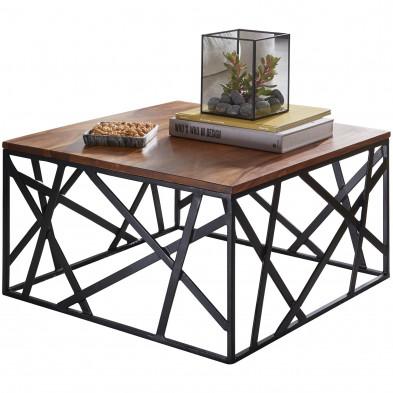 Table basse en bois marron rustique en acier L. 60 x P. 60 x H. 35 cm collection Wabasca