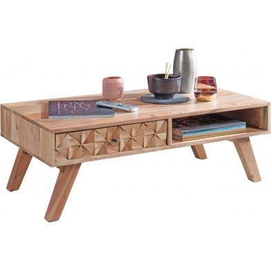 Table basse en bois marron rustique en bois massif acacia L. 95 x P. 50 x H. 35 cm collection Bishopton