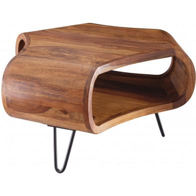 Table basse en bois marron rustique en acier L. 55 x P. 55 x H. 38 cm collection Yuna