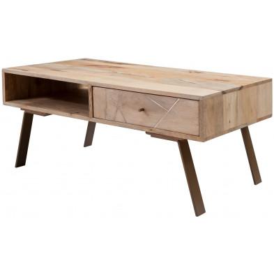 Table basse en bois beige rustique en acier L. 95 x P. 50 x H. 42 cm collection Carinola