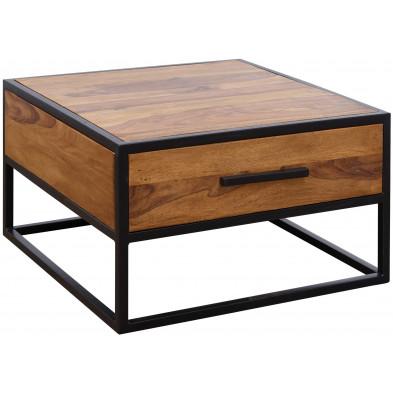 Table basse en bois marron rustique en acier L. 65 x P. 65 x H. 38 cm collection Enlarge