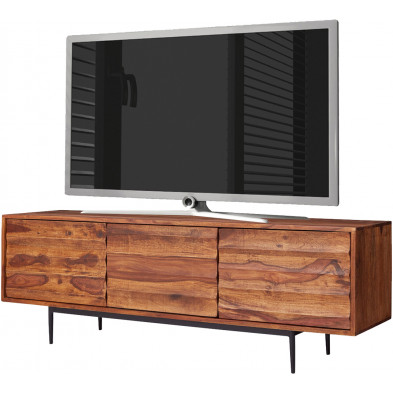 Meuble tv design marron rustique en acier L. 147 x P. 35 x H. 50 cmr collection Badhoevedorp