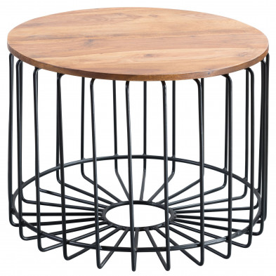 Table basse en bois marron rustique en acier L. 60 x P. 60 x H. 46 cm collection Eldrach