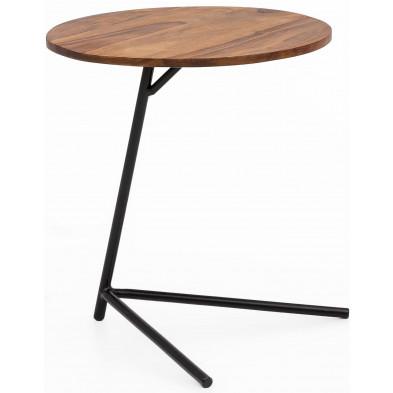 Table d'appoint marron rustique en acier L. 40 x P. 40 x H. 46 cm collection Godby