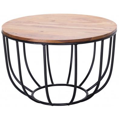 Table basse en bois marron rustique en acier L. 60 x P. 60 x H. 39 cm collection Scandeluzza
