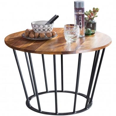 Table basse en bois marron rustique en acier L. 62 x P. 62 x H. 40 cm collection Breeuwsma