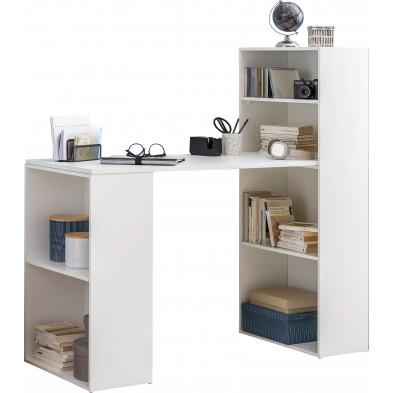 Bureau blanc design en panneaux de particules mélaminés de haute qualité L. 50 x P. 120 x H. 120 cm collection Assorted