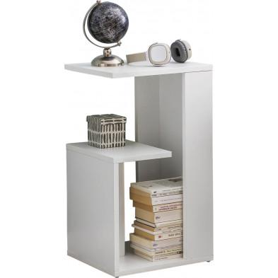Table d'appoint blanc design en panneaux de particules mélaminés de haute qualité L. 35 x P. 30 x H. 61 cm collection Beltane