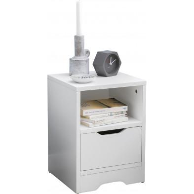 Chevet enfant blanc design en panneaux de particules mélaminés de haute qualité L. 31 x P. 31 x H. 43 cm collection Phatur