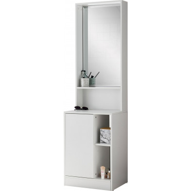 Vestiaires blanc design en miroir L. 50 x P. 39.5 x H. 180 cm collection Beazer