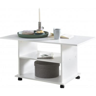 Table basse blanc design en panneaux de particules mélaminés de haute qualité L. 95 x P. 54.5 x H. 51 cmcollection Brown