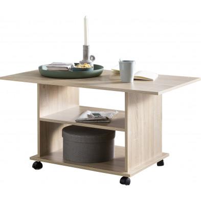 Table basse design marron contemporain en panneaux de particules mélaminés de haute qualité L. 95 x P. 54.5 x H. 51 cm collection Brown