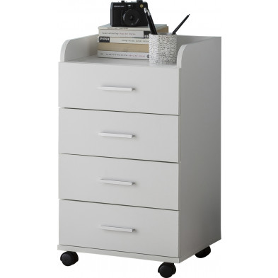 Caisson bureau blanc design en bois mdf L. 40 x P. 33 x H. 70.5 cm collection Oostdam