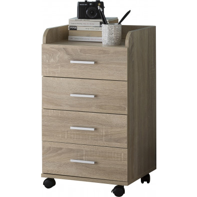 Caisson bureau marron contemporain en bois mdf L. 40 x P. 33 x H. 70.5 cm collection Oostdam