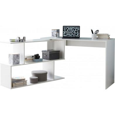 Bureau blanc design en panneaux de particules mélaminés de haute qualité L. 119 x P. 49 x H. 78 cm collection Rastede