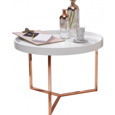 Table basse blanc design en bois massif L. 58.5 x P. 58.5 x H. 42 cm collection Things