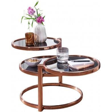 Table basse or design en bois massif L. 58 x P. 58 x H. 43 cm collection Things