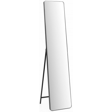 Miroir sur pied noir design en acier L. 30 x P. 36 x H. 150 cm collection Neilston