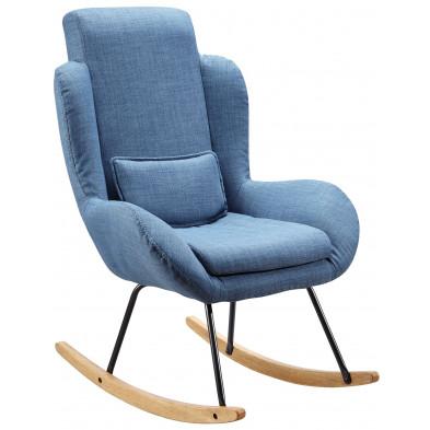 Fauteuil moderne bleu scandinave en pu L. 75 x P. 85.5 x H. 110 cm collection Vandervelden