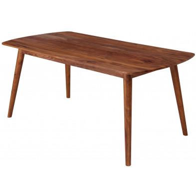 Table de salle à manger en bois massif marron rustique en bois massif sheesham L. 120 x P. 60 x H. 77 cm collection Loud