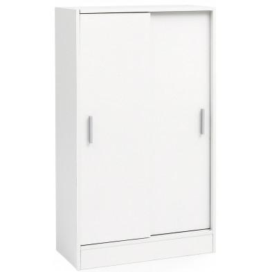 Meuble de rangement blanc design en panneaux de particules mélaminés de haute qualité L. 60 x P. 28.5 x H. 107.5 cm collection Turaw