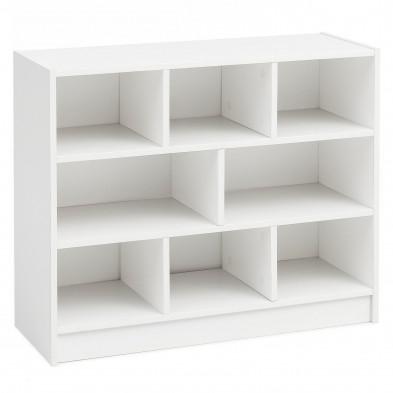 Bibliothèque blanc design en panneaux de particules mélaminés de haute qualité L. 80 x P. 29.5 x H. 68.5 cm collection Ruisbroek