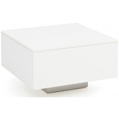 Table basse blanc design en panneaux de particules mélaminés de haute qualité L. 60 x P. 60 x H. 35.5 cm collection Smoke