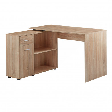 Bureau d'angle taupe design en bois mdf L. 120 x P. 106,5 x H. 75,5 cm collection Munday