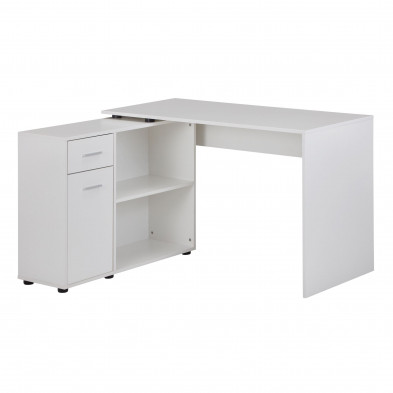 Bureau d'angle blanc design en bois mdf L. 120 x P. 106,5 x H. 75,5 cm collection Munday