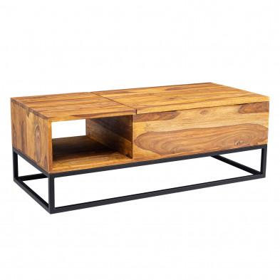Tables basse noir moderne en acier inoxydable et bois massif sheesham L. 110 x P. 50 x H. 40 cm  collection Geurds
