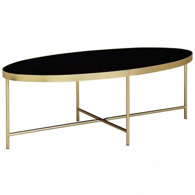 Table basse noir moderne en acier et verre trempé sécurit  L. 110 x P. 56 x H. 40 cm collection Navis