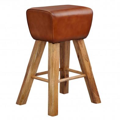 Tabouret de bar marron moderne en bois massif manguier et cuir véritable  L. 43 x P. 43 x H. 75 cm  collection Kanon
