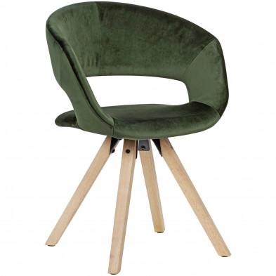 Chaise de salle à manger Vert Moderne en Bois massif hevea et Velours L. 56 x P. 43 x H. 80 cm collection Tekikaari