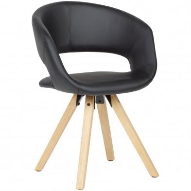 Chaise de salle à manger Noir Moderne en Bois massif hevea et Cuir synthétique L. 56 x P. 50 x H. 80 cm cmcollection Tekikaari