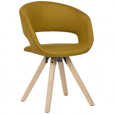 Chaise de salle à manger Jaune Moderne en Bois massif hevea et Tissu L. 56 x P. 50 x H. 80 cm  collection Tekikaari
