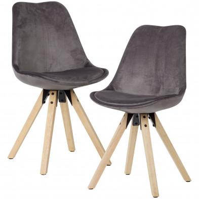 Chaise de salle à manger Gris Moderne en Bois massif hevea et Velours L. 49 x P. 52 x H. 87 cm collection Ferdinando